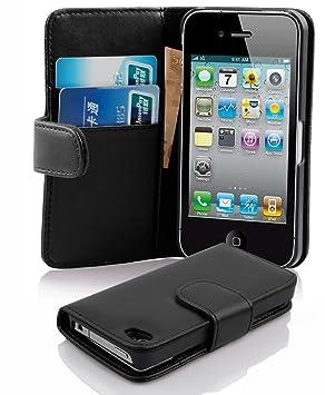 Cadorabo Carcasa para Apple iPhone 4/iPhone 4S Móvil En Caviar Negro Funda con Tarjetero de Piel sintética Liso Case Cover Carcasa Funda Book Style ...
