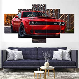 Sincin Canvas Wall Art Picture Prints on Canvas Challenger SRT Demon Canvas Print Framed 5 Pcs Wall Art Poster Decor-100x200 cm
