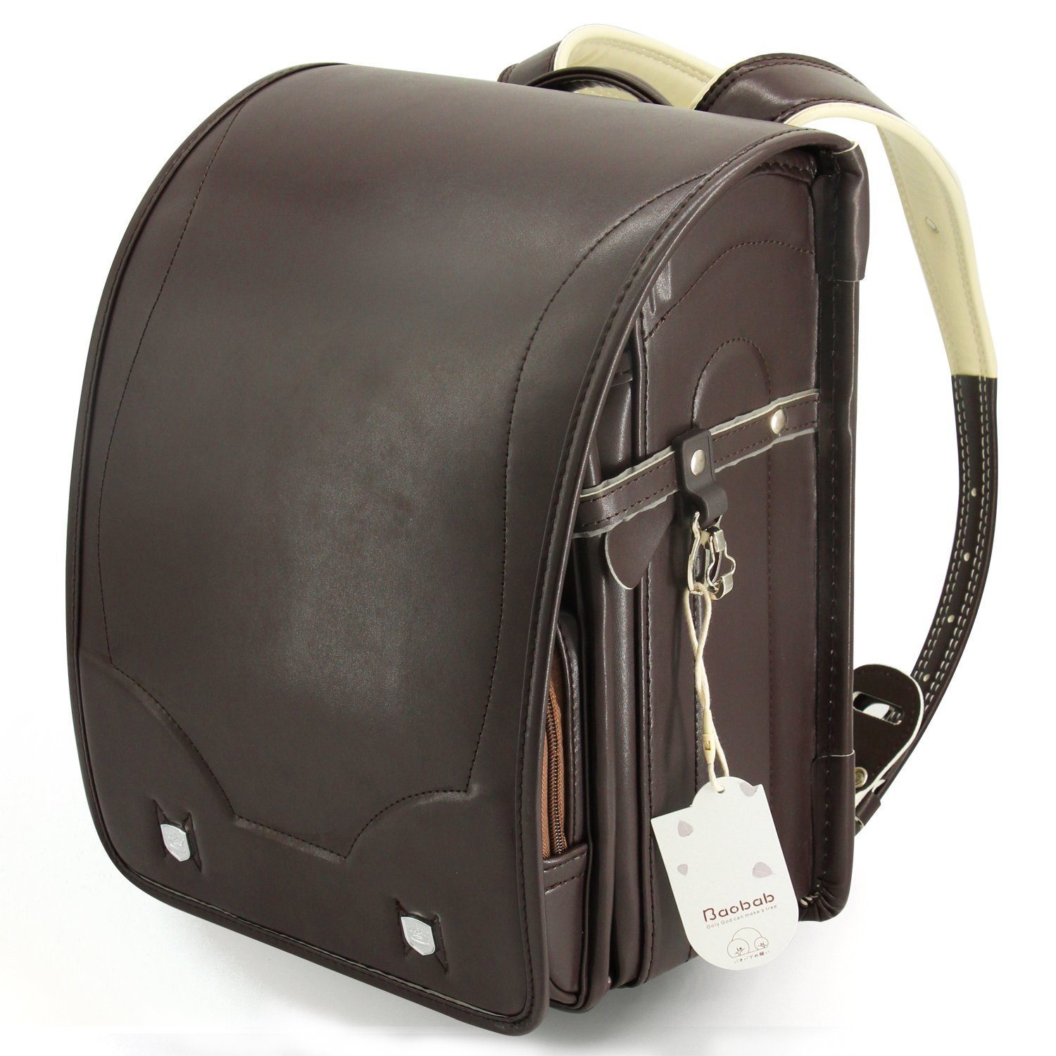 Ransel Randoseru upscale full automatic Japanese schoolbags for girls and boys With Rain Cover brown by Baobab's Wish