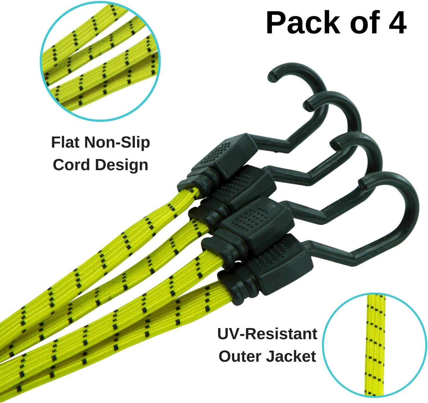 Houseables Bungee Cords with Hooks, Bungie Straps, 4 Pack, 48 Inch Long, Yellow, Flat, Premium Rubber, Bungy Chords, Adjustable, Long Bungi Rope for Dolly, Upcart, Car Trunk, Camping, Luggage, Moving: Automotive