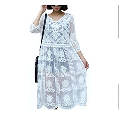 Wesgnlue Chen Vintage Sweet Lace White Dress V-Neck Casual Loose Clothing Vestidos Beach Sun