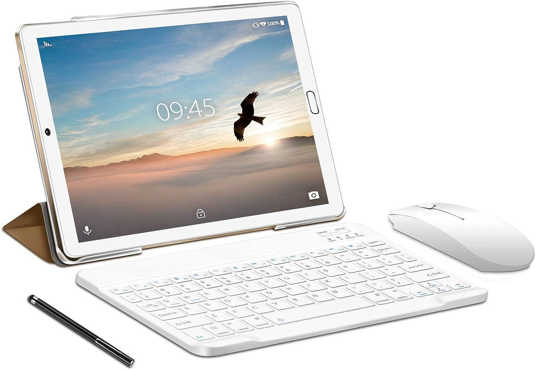 4G Tablet 10 Pulgadas YESTEL X2, 3GB+32GB, Android 9.0, Tableta con Mouse y Teclado, 4 Core, 8000mAh, 1280X800 HD IPS, Soporte WiFi/Dobles SIM, FM, Dorado