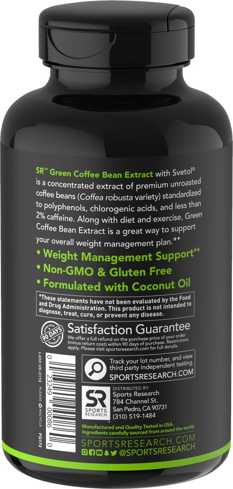 SVETOL Green Coffee Bean Extract, 90 Liquid Softgels with 400mg of Clinically-Proven Svetol Per Cap by Sports Research (Image #6)
