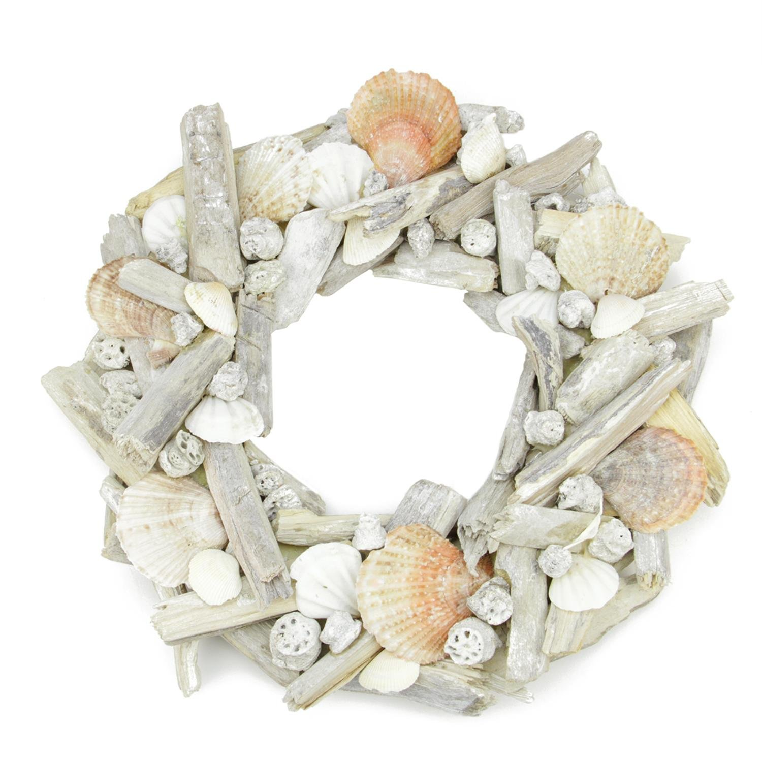 Northlight 12.5'' Nautical Driftwood and Seashell Artificial Summer Wreath