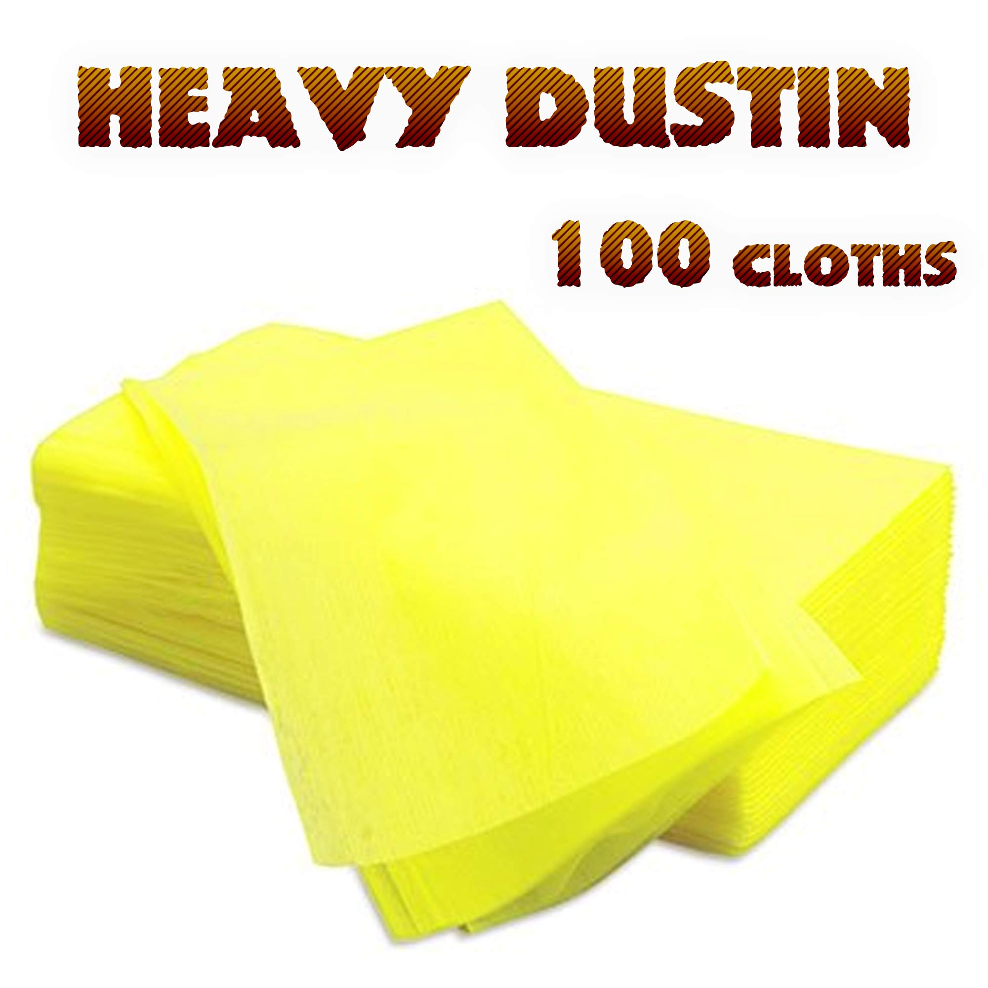 100 Dust Cloths - Disposable Treated Dusting Cloth - 2 Packs of 50 Cleaning Wipes by Heavy Dustin