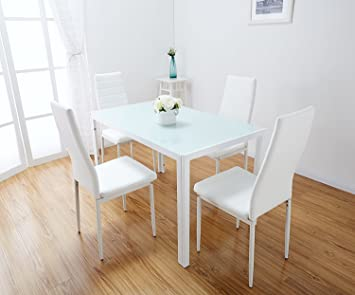 Toscana White Glass Dining Table Set 4 Faux Leather Chairs (White)