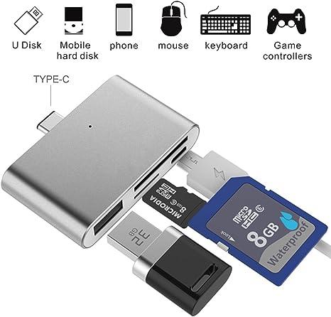 Adaptador para Lector de Tarjetas SD, Ybee Super Thin USB 3.1 OTG Tipo C Adaptador para CF/SD/TF Micro SD, Apple Mac ...