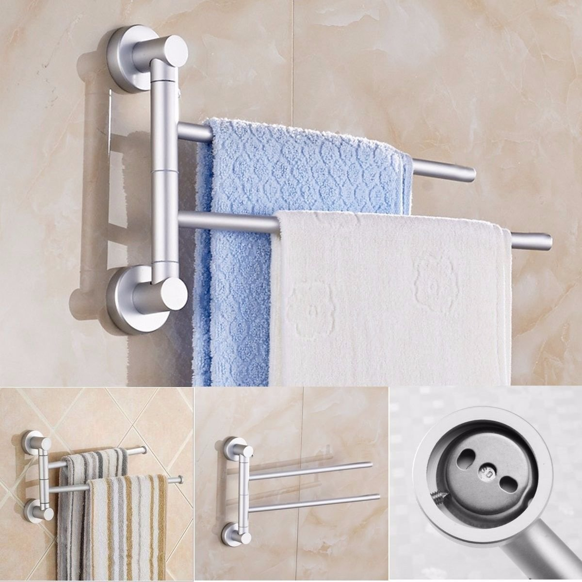 Agordo Aluminum 360В° Bathroom Kitchen Wall Mounted Towel Rack Storage Holder Rail Shelf