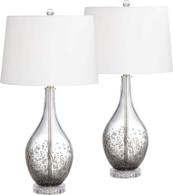 Sparrow Smoke Gray Glass Table Lamp Set Of 2 Home Improvement