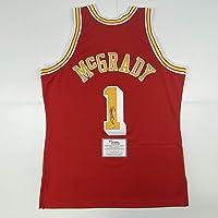 $649 » Autographed/Signed Tracy McGrady Houston Rockets Red Authentic Swingman Mitchell & Ness Basketball Jersey Fanatics COA