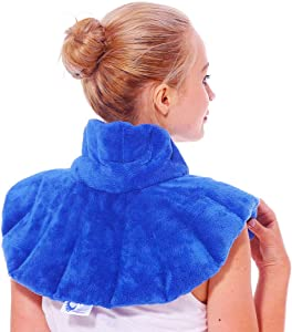 Huggaroo Microwavable Heating Pad - Heated Neck Wrap/Cold Compress for Neck and Shoulders with Lavender Aromatherapy, Blue