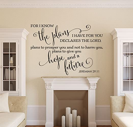 Wall Decal Jeremiah 29:11 Wall Quote Decal Living Room Decor Removable Vinyl  Decal Bible