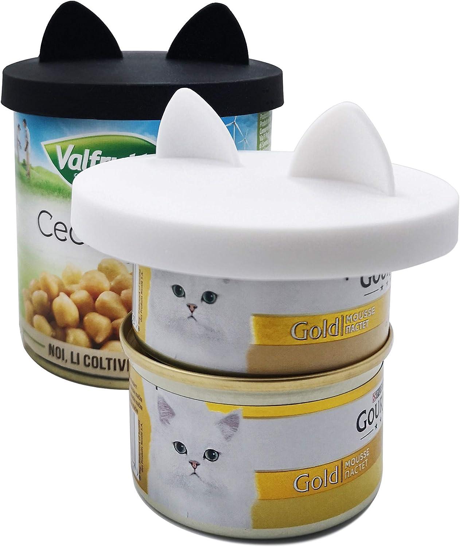 1 para 3 tama/ños est/ándar GuMan 2 Paquetes de Tapas para latas de Comida para Mascotas con dise/ño de Oreja Silicona Universal para Gatos y Perros