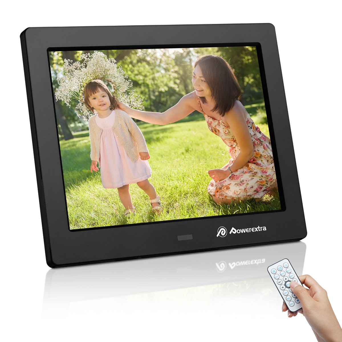 Powerextra 8 inch HD Digital Photo Frame with Motion Sensor, Calendar/Clock Function, MP3/Photo/Video Player with Remote Control