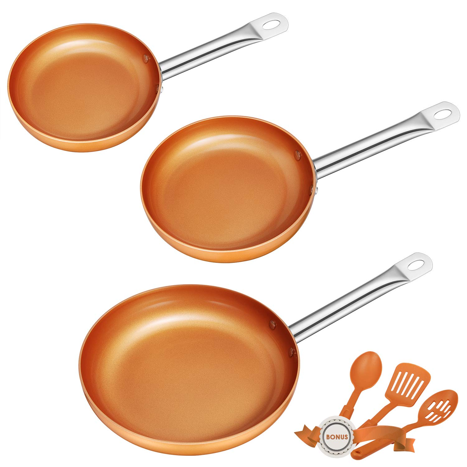 Frying Pan Set Non-stick Chef Pan Copper Style Pan with Stainless Steel Handle Deik PFOA free Skillet Dishwasher and Oven Safe Cookware Set 3 Pack with 3 Bonus Professional Spatula and Spoon