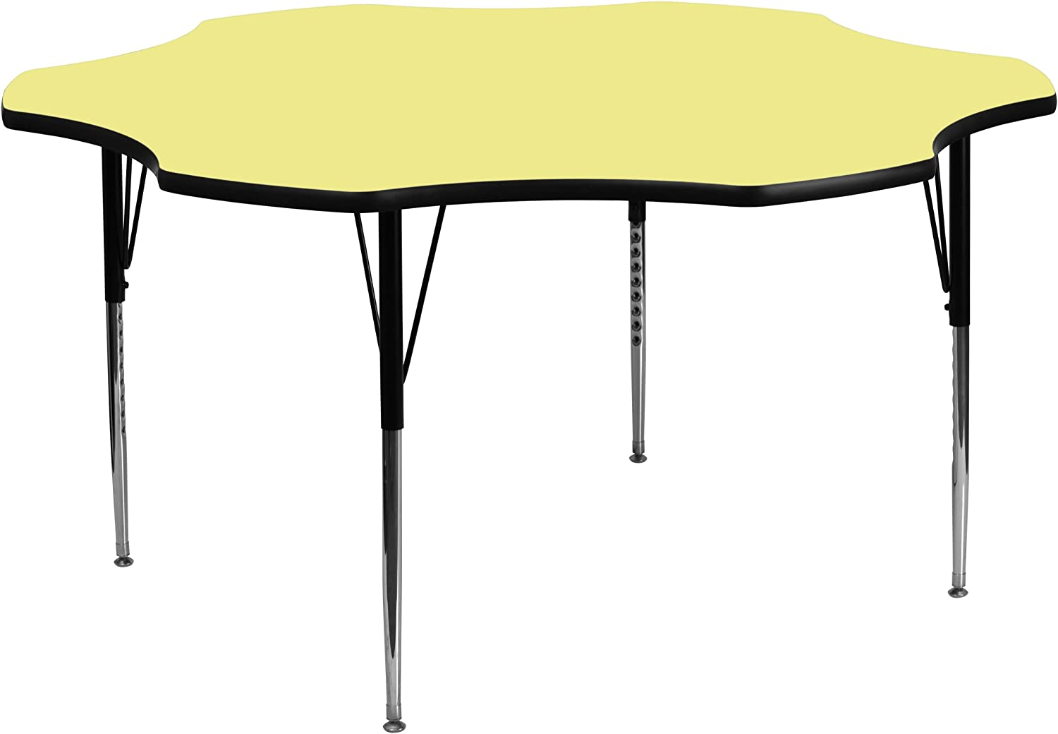 Flash Furniture 60'' Flower Yellow Thermal Laminate Activity Table - Standard Height Adjustable Legs