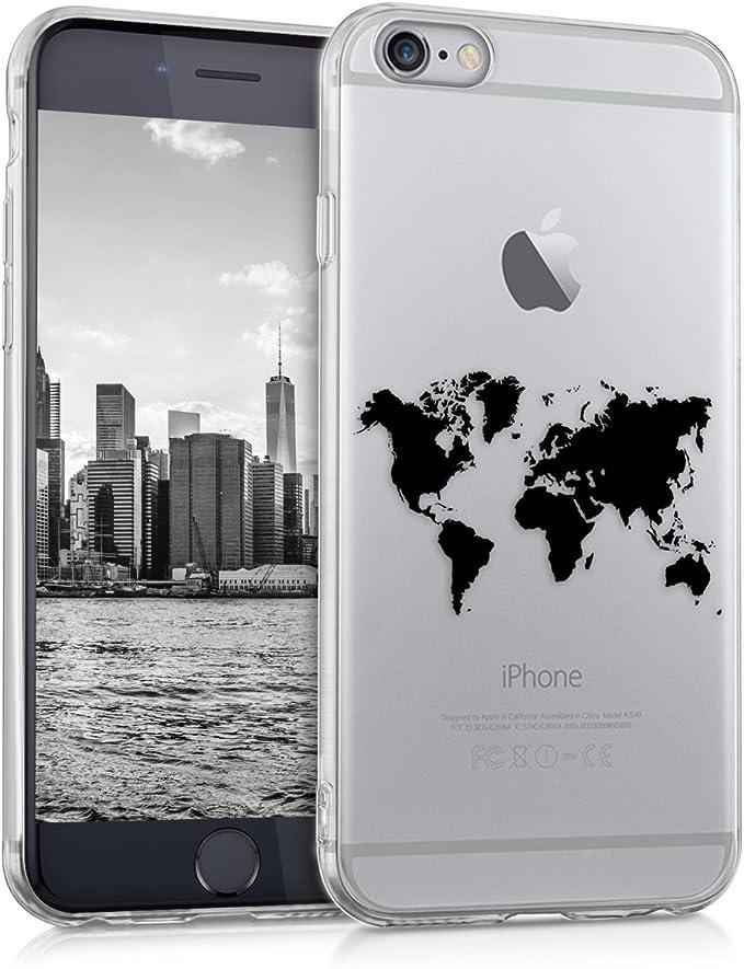 kwmobile Cover Compatibile con Apple iPhone 6 / 6S - Custodia in Silicone TPU - Backcover Protettiva Cellulare Contorni Nero/Trasparente