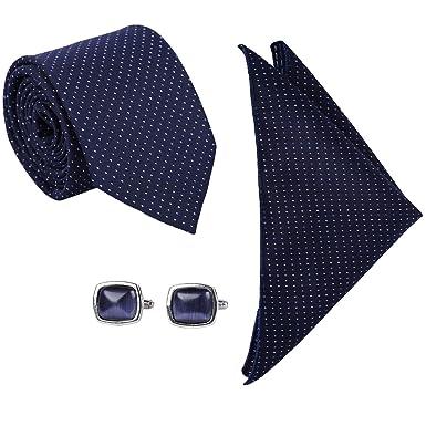 fb22f236494d0 Red Eye Men's Navy Blue Polka Dot Necktie, Pocket Square, Cufflinks:  Amazon.in: Clothing & Accessories