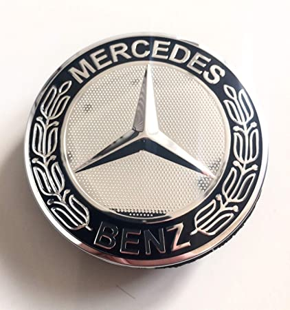 Llanta Tapa Mercedes Benz 4 x 75 mm Buje Buje de rueda tapa Tapacubos Tapacubos Llanta tapas Buje tapas Wheel Caps cromo/negro