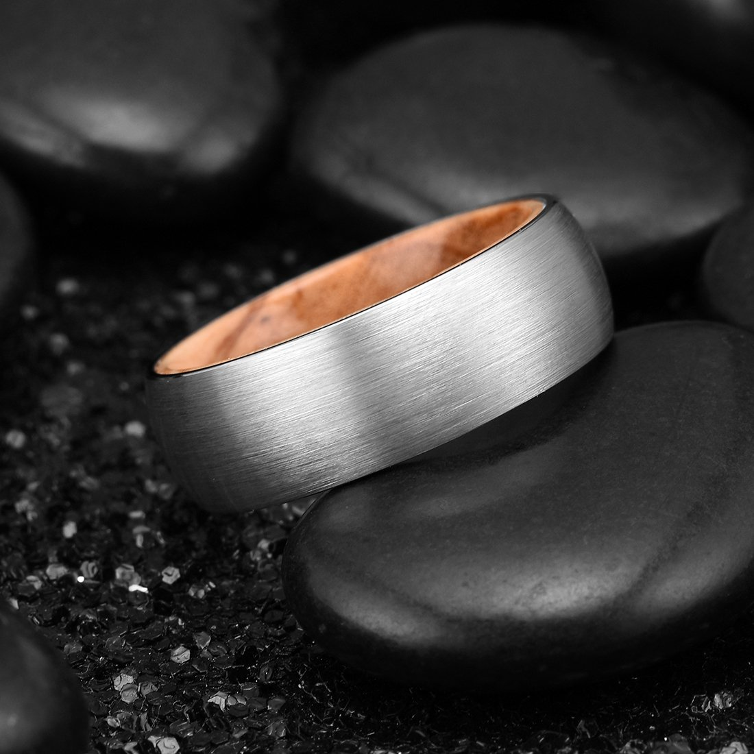 King Will Nature 8mm Men's Tungsten Carbide Ring Brushed Dome Wedding Band with Wood Inlay Comfort Fit(10.5) by King Will (Image #3)