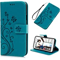 Galaxy S5 Case -[Natural Luxury Bule] Stand Wallet Purse Credit Card ID Holders Magnetic Flip Folio TPU Soft Bumper PU Leather Ultra Slim Fit Cover for Samsung Galaxy S5 i9600