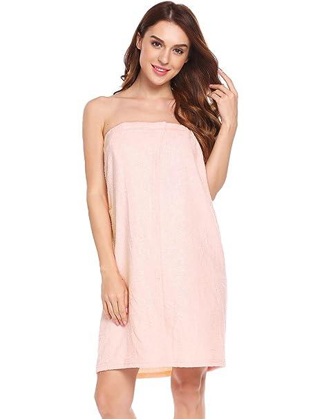 a7c3aa90db Langle Women s Wrap Towel Pure Colour Pockets Robes All Season Nightwear ( Pink