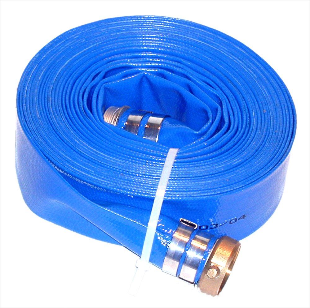 JGB Enterprises Eagle Hose Eagleflo Eagle PVC Discharge Hose Assembly, Blue, 4'' Male X Female Water Shanks , 70 PSI Maximum Pressure, 4'' Hose ID, 50' Length