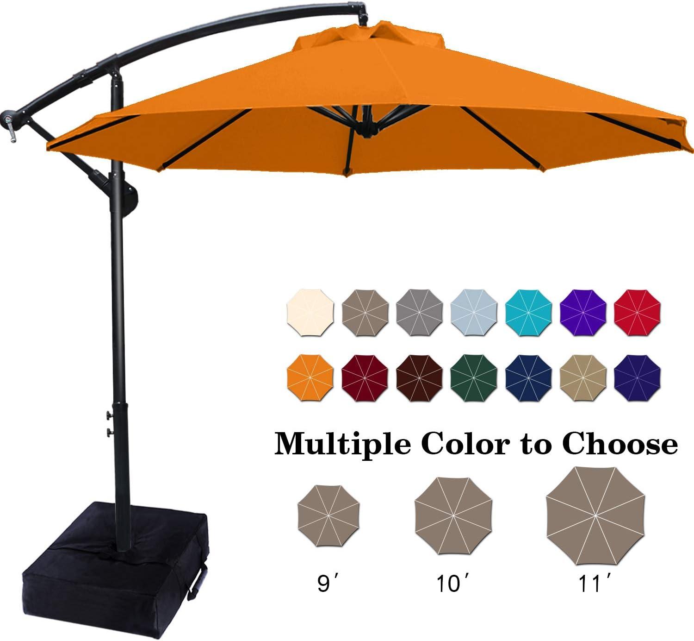 ABCCANOPY Patio Umbrellas Cantilever Umbrella Offset Hanging Umbrellas 9 FT Outdoor Market Umbrella with Crank & Cross Base for Garden, Deck, Backyard, Pool and Beach
