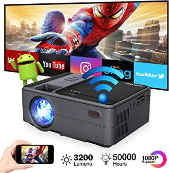 Portable Mini Projector Bluetooth WiFi, Wireless Pico Micro Video Projector Andriod 6.0 Home Theater Airplay Miracast, 3200 lumen Support 1080p HDMI ...
