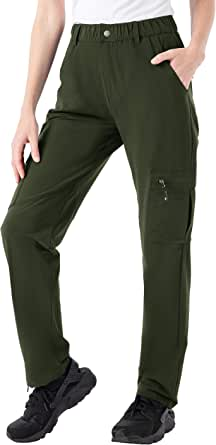 TBMPOY Women's Hiking Cargo Pants Outdoor Lightweight Breathable Water Resistant Zipper Pockets for Fishing, Camping