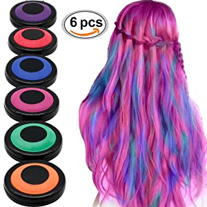 HAIR CHALKS SET: 6 Colors Temporary Hair Coloring Chalk - Hair Dye Colorful Sticks - Great For Dress Up Performance Costumes Halloween Christmas Party