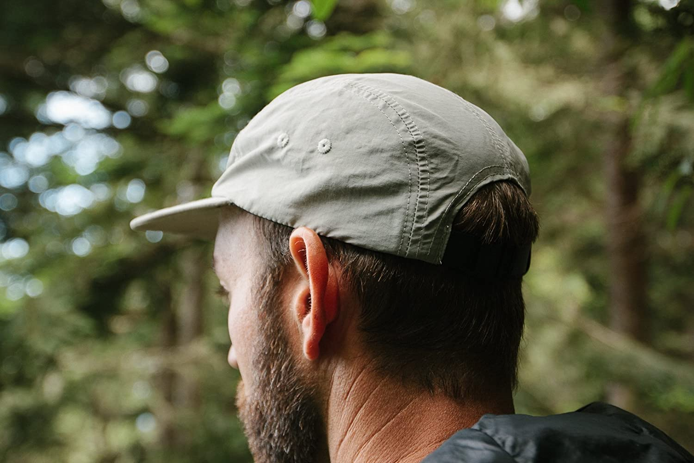 Tillak Wallowa Camp Hat Lightweight Nylon 5 Panel Grey Cap with Snap Closure
