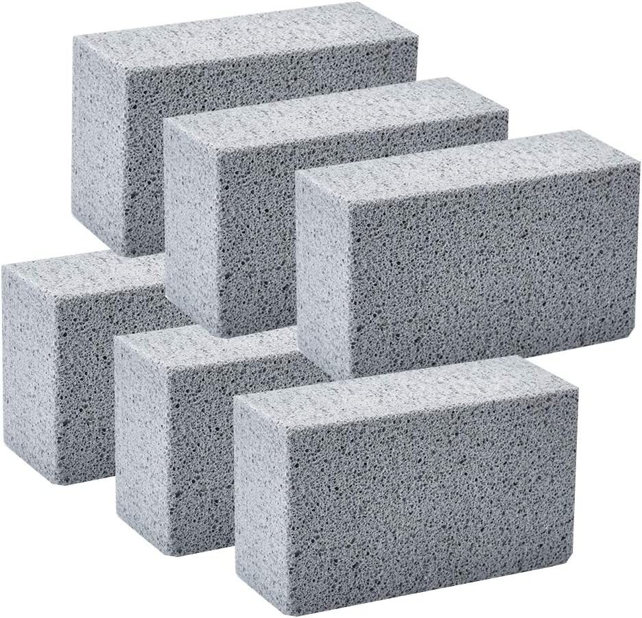 BBQ Pumice Stone CWYX Griddle Scraper Brick 6 Pack BBQ Grill Cleaning Bricks Square Ecological Griddle Cleaning Stone for BBQ Grills Racks Flat Top Cookers Pool