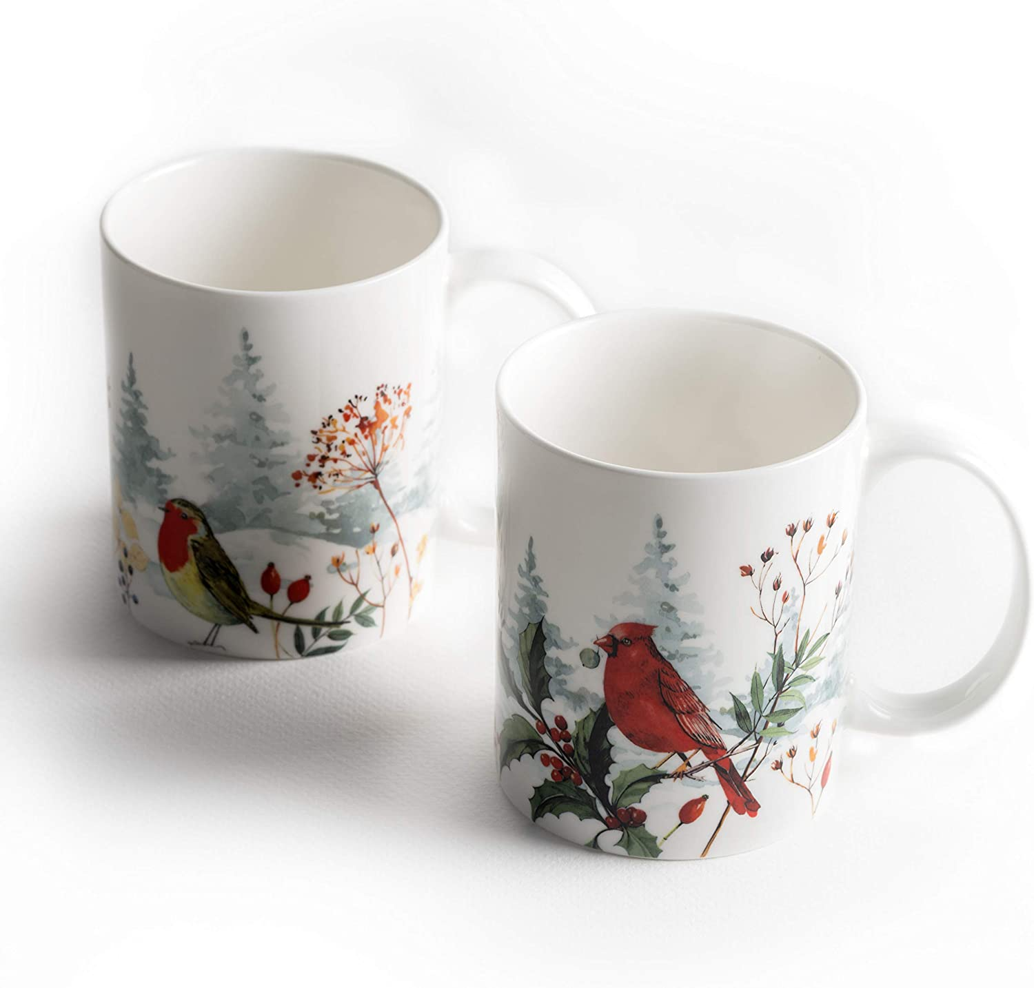 Maison d' Hermine Morzine Fine Bone China Coffee Mug Perfect for Coffee|Cappuccino|Latte|Cocoa|Tea & Home Gifts (Pack of Two, 12 Ounce)
