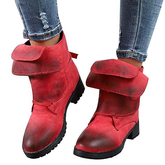 Damenmode Online Shop,Nieten Stiefeletten Biker Boots Damen Flache Freizeit  Herbst Winter ,OSYARD Frauen 382a776741