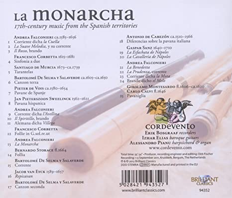 La Monarcha: 17th-Century Music From the Spanish Territories: Trio Cordevento; Erik Bosgraaf, Varios: Amazon.es: Música