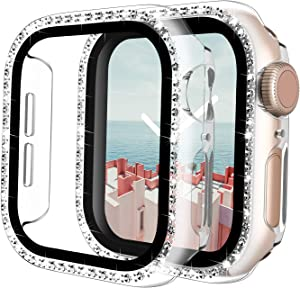 TAURI 2 Pack Case Built in Screen Protector Compatible with Apple Watch SE 40mm Series 6/5/4 Tempered Glass Screen Protector Cover, Bling Crystal Diamond Full Protection Cover for iWatch - Clear