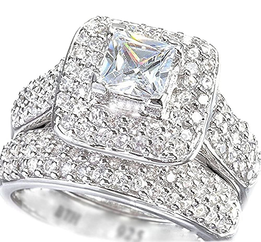 Besttohave Ladies Ring Halo Design 2 Piece 925 Sterling Silver Luxury Affordable Wedding Engagement Bridal Ring Set