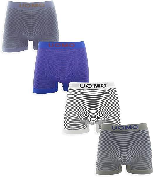 Channo Pack de 4 - Calzoncillos Boxer Lycra sin Costuras con Rayas horizontales: Amazon.es: Ropa y accesorios