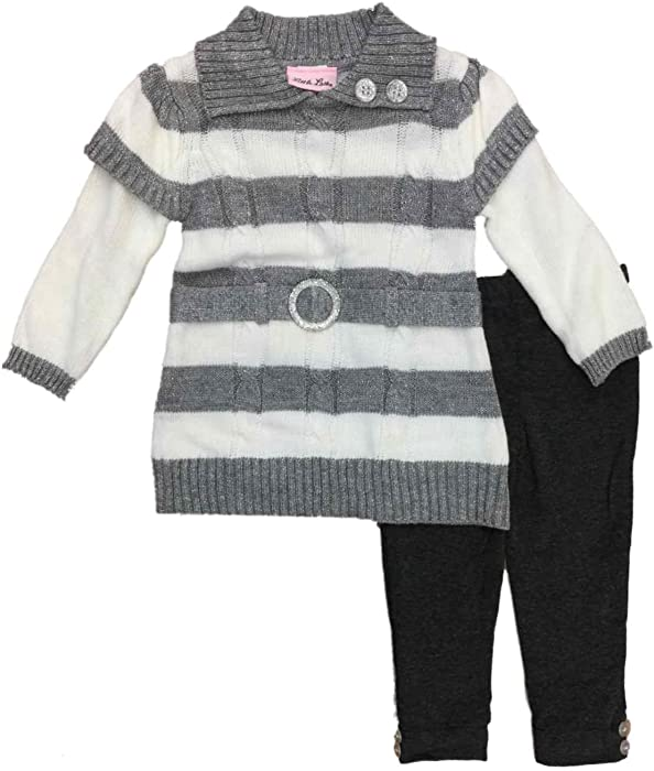 5fa6a2253 Little Lass Infant & Toddler Girls Outfit Metallic Gray Stripe Sweater & Leggings  Set 2T