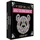 Adult Coloring Books Set - 3 Coloring Books for Grownups - 120 Unique Animals, Scenery & Mandalas Designs. Coloring Books for Adults Relaxation.