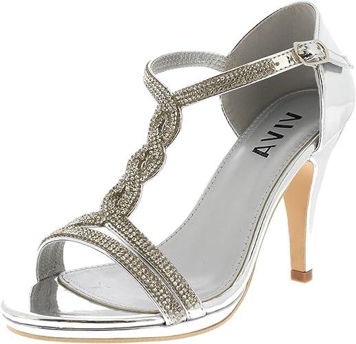 Viva Mujer Diamante T-Bar Medio Talón Boda Fiesta Metálico Sandalias Zapatos - Plata KL0312B 7UK/40: Amazon.es: Zapatos y complementos