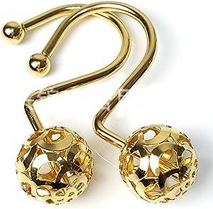 Gold Shower Curtain Rings Hooks Easy Roller Ball Shower Curtain Rings Hooks 12 Count