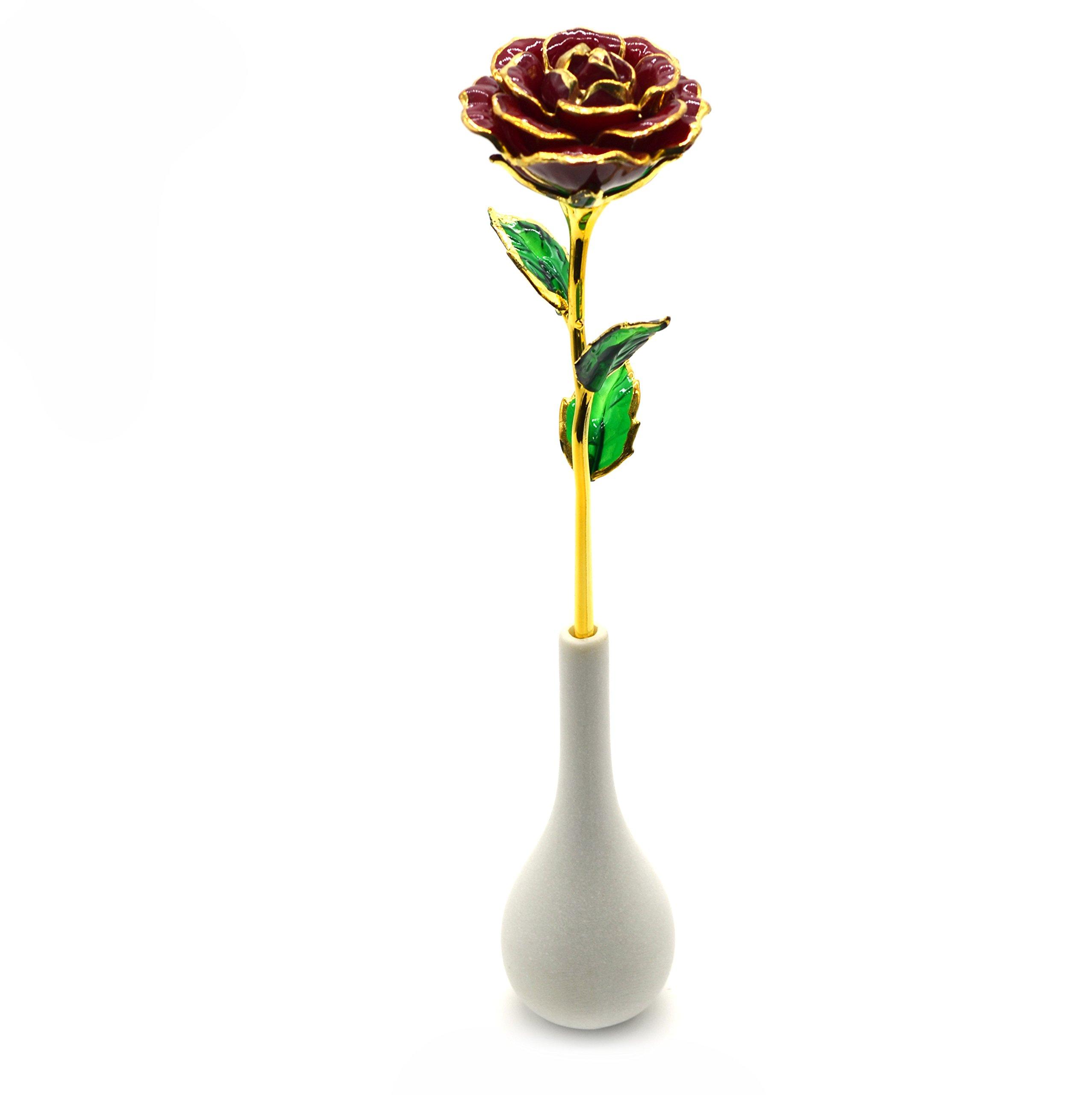 Omonic long stem dipped 24k gold trim valentines rose with vase in omonic long stem dipped 24k gold trim valentines rose with vase in gift boxvale reviewsmspy