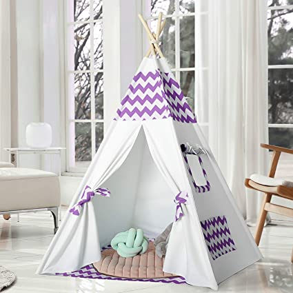 best website 52e41 02f79 Kids Teepee Play Tent Indoor Outdoor Teepee Tent for Kids Indian White  Canvas Teepee Childrens Teepee Tents for Girls Boys Kids Teepee, Purple  Chevron ...