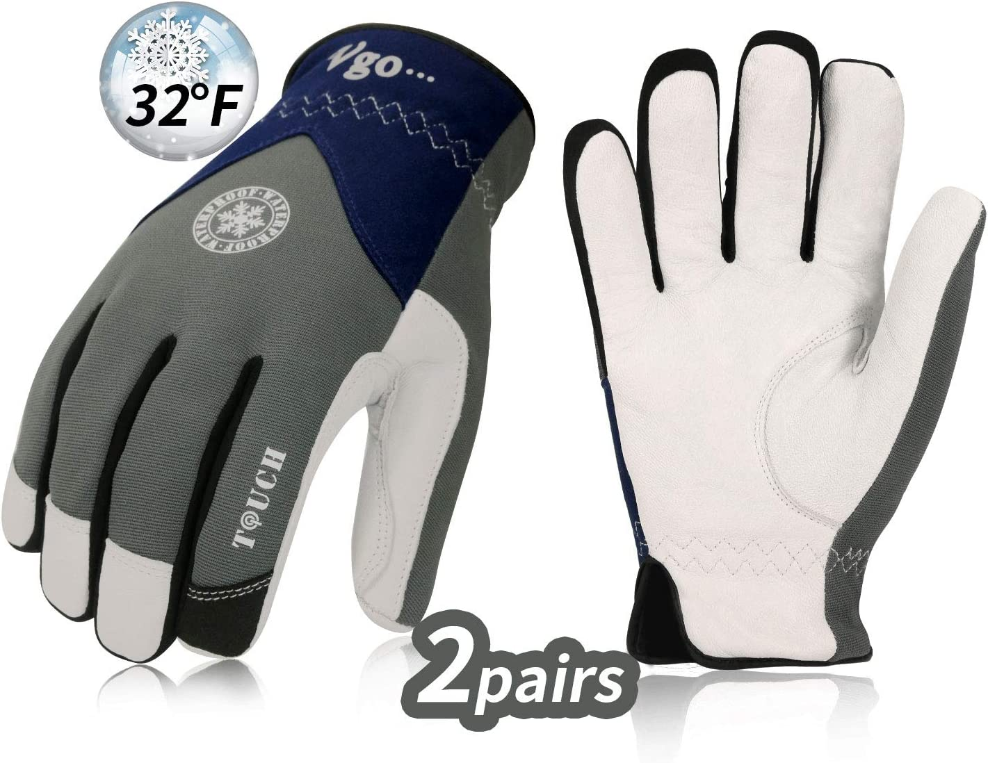 Vgo Water Repellent Goat Leather Light Duty Mechanic Glove,Rigger Glove 1 Pair,Anti-abrasion,Size L, Brown, GA9603 Laborsing Safety Products Inc.