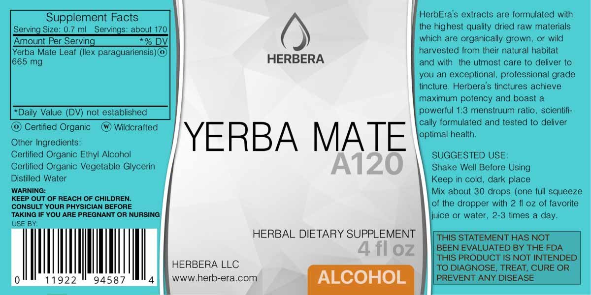 Amazon.com: Yerba Mate A60 Alcohol Herbal Extract Tincture, Super-Concentrated Organic Yerba Mate (Ilex paraguariensis) (2 fl oz): Health & Personal Care