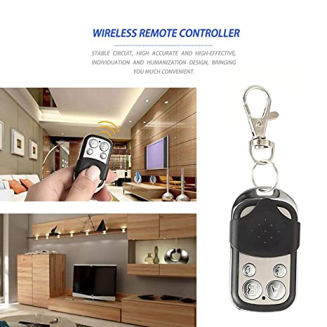 433MHz Wireless Universal Copy Remote Control Metal Push Cover 4 Key Garage Door Duplicator Car Key Fob Auto Alarm System