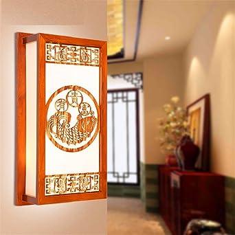 SADASD Moderne Chinesische Mauer Helle Wohnzimmer Gang Flur Licht Studie  Schlafzimmer Bett Klassische Massivholz Wandbeleuchtung,