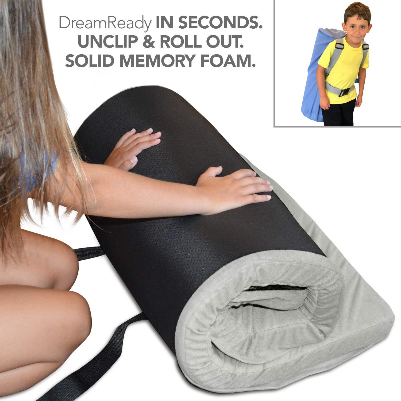 "Better Habitat DreamReady Kids Sleeping Bag & Air Mattress Alternative (Kids Ages 4-12; 62x26x2""). [Solid Memory Foam, roll Out Portable Sleep pad w/Waterproof Cotton Terry Cover & Travel Bag]"